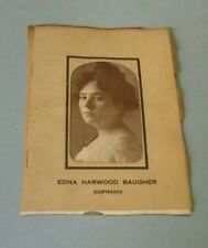 1912 Edna Harwood Baugher Soprano Singer Concert Review Booklet with Photo