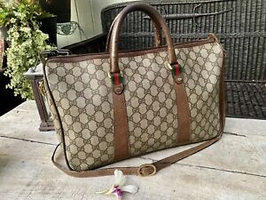 Authentic Gucci Vintage Sherry Line Boston /Luggage Bag W Strap 🌺