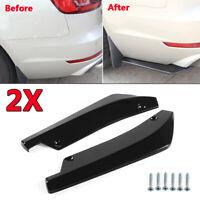 2x Negro brillante coche trasero lip universal difusor Splitter Canard Protector
