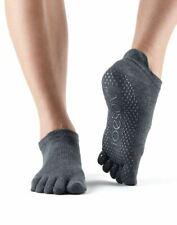 Toesox Full Toe Low Rise Grip Socks For Barre Pilates Yoga Charcol Grey