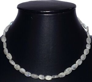 """925 Sterling Silver 17"""" Strand Necklaces Blue Rainbow Moonstone Gemstone HG218"""