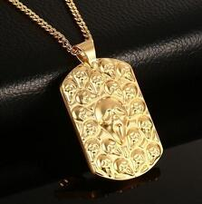 Gold Stainless Steel Biker Skull Dog Tag Pendant Chain Necklace for XMAS Gifts