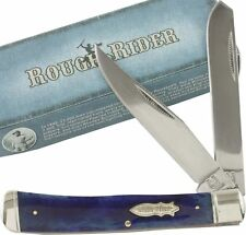 ROUGH RIDER Purple Blue Smooth Bone Handles TRAPPER Pocket Knife RR1254