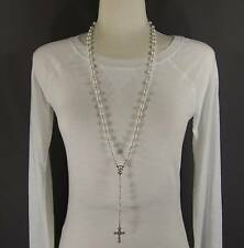 """White faux pearl glass bead beaded rosary silver cross 30"""" long necklace"""