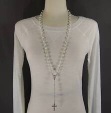 "White faux pearl glass bead beaded rosary silver cross 30"" long necklace"