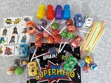 BOYS 10 SUPERHERO PARTY BAGS WITH 7 ITEMS LOLLIES TOY CAR, BALL COST £1.19 EACH