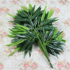 2Pcs/20Leaves Branches Artificial Bamboo Leaf Plants Green Tree Floral Decor Hot