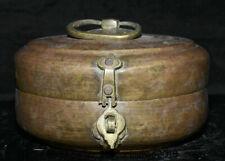 "8"" Antique Old Tibet Buddhism Temple Copper Handmade jewel box Storage Box"