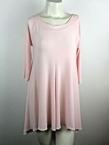 Sun Kim Pink Blush Stretch Pullover Hi-Lo Scoop Neck Tunic Top Women's Size XS
