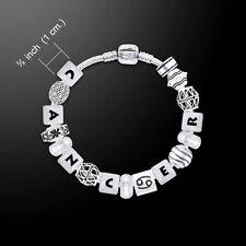 Cancer Astrology Bead .925 Sterling Silver Bracelet