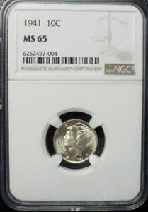 1941-P  MERCURY DIME  NGC MS65
