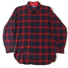 Pendleton Mens Sz M Board Shirt Plaid 100% Wool Red Collar Button Down EUC Trail