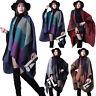 Women Warm Cape Blanket Ladies Open Front Winter Wrap Poncho Shawl Check