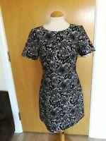 Ladies OASIS Dress Size 12 Black Lace Effect Smart Party Evening Wedding Races