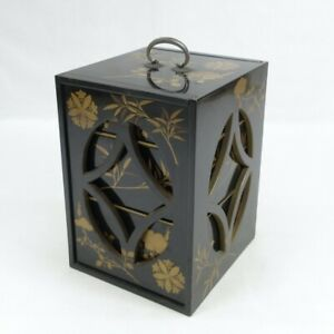 D0642: Japanese old lacquer ware JUBAKO (nest of boxes) w/MAKIE in wonderful box