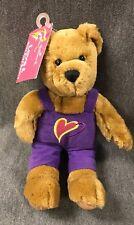 Vtg Hallmark Bear Love and Kiss Kiss Purple Valentine's Day Heart Overall Plush
