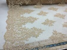 Champagne French Design Embroider On A Mesh With Double Scalloped.bridal Lace.