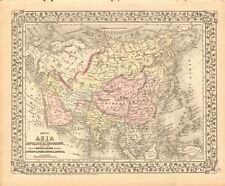 1874 ANTIQUE MAP - ASIA WITH ROUTES OF TRAVEL, LONDON & INDIA, CHINA & JAPAN