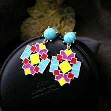 Boucles d`Oreilles Clous Doré Art Deco Multicolore Jaune Rouge Turquoise AA 14