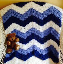 CROCHET handmade baby blanket afghan chevron ripple stroller preemie doll BLUE