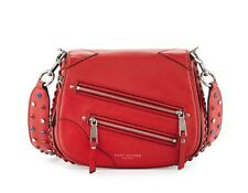 Marc Jacobs PYT Small Leather Studded Saddle Shoulder Bag Crossbody Red