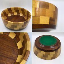 🌟Vintage Mid Century Modern Carved Chequerboard Solid Teak Wood Serving Bowl