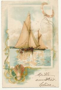 French illustrated postcard 1900 - old sailboats
