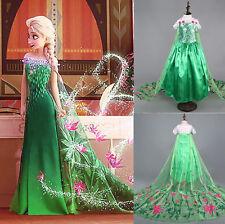 Green Girls Frozen Fever Elsa Anna party Costume Princess Dress Kid Clothes Gift