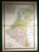 Blgica pases bajos raro original 1887 rand mcnally antiguo mapa belgium netherlands rare original 1887 rand mcnally antique world atlas map gumiabroncs