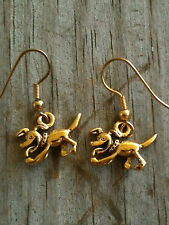 Cartoon Dog Earrings Gold Plated Pewter Running