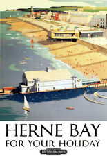 Herne Bay for your Holidays British Railways Train Rail Travel  Poster Print