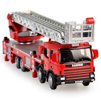 Ladder Fire Truck Construction Vehicle Car Model Toy 1:50 Scale Diecast