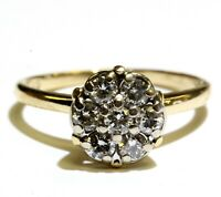 14k yellow gold .49ct SI2 H diamond cluster shower head ring 3g estate womens