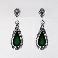 925 Sterling Silver Vintage Style Marcasite Green Teardrop Dangle Drop Earrings