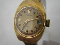 NOS NEW VINTAGE MECHANICAL AUTOMATIC GOLD PL DATE ANALOG ELECTRA WOMEN'S WATCH