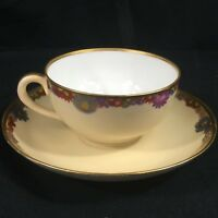 Vintage Cup and Saucer Multi Floral Gold Trim Fine China Made in JAPAN