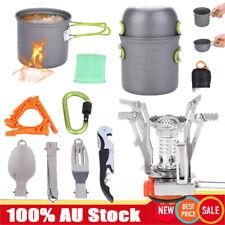 11Pc Portable Outdoor Picnic Camping Cooking Stove Burner Pots Bowl Cookware Set