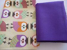 2 Stück Stoffreste Stoffpaket Patchworkstoffe Baumwolle Uni und Eulen Motiv