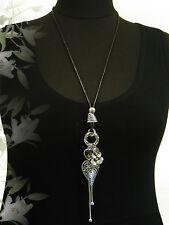 LAGENLOOK lange XXL Schmuck Halskette Bettel-Kette Charms Herz Blüte silber