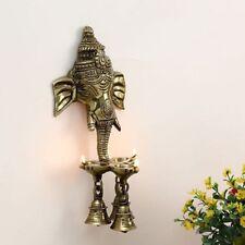 Brass Wall Hanging Ganesha Ganesh Oil Lamp Diya Statue Sculpture Ganapati Figure