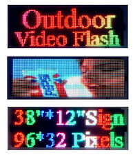"Outdoor Video Full Color 38""x12"" LED Sign Programmable Scrolling Message Display"
