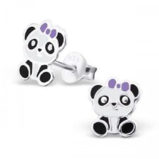 Childrens Girls Sterling Silver Panda with Purple Bow Stud Earrings - Gift Boxed