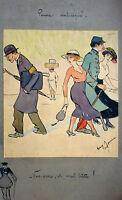 Ancienne aquarelle, dessin humoristique de Henry Maurice Cahours 1915