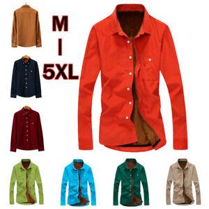 Mens Winter Long Sleeve Shirts Men's Casual Fleece Lined Flannel Corduroy Shirt