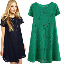 Übergröße S-4XL Sommer Damen Spitze kurzärmlig Abend Party Mini Clubwear Kleid