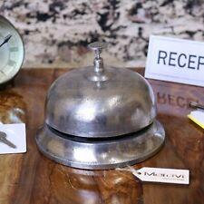 More details for tirsuli large vintage reception bell silver distressed hotel desk office gift