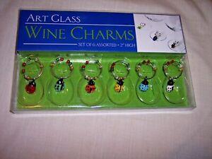 "Wine Charms   Art Glass    Set of 6   2"" high"