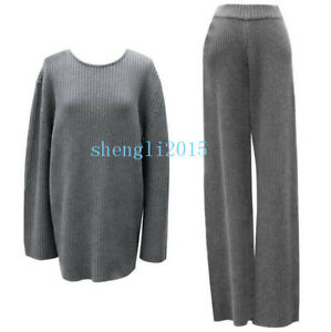 New Women Cashmere Wool knitted Sweater Cardigan+Wide Leg Pants Sets 2 Pic Suits