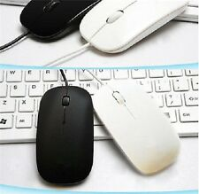 Ultra Thin Slim USB Optical Wired Mouse for PC Laptop Windows Apple- WHITE UK