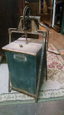 Hand Crank Antique Metal Wooden Box Butter Churn Primitive Tabletop Vintage